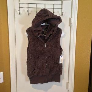 Kensie women's hood sherpa TRUFFLE hoodie vest NEW